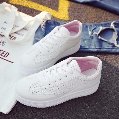 韩版小白鞋女学生板鞋女休闲系带平底平跟女鞋镂空女单鞋夏季
