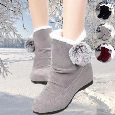 靴子女短靴平底大码女靴子女棉靴懒人鞋女学生冬季加绒女鞋高跟男士皮靴子红色靴子女学生女鞋冬季韩版棉靴学生毛毛鞋女厚底靴子女