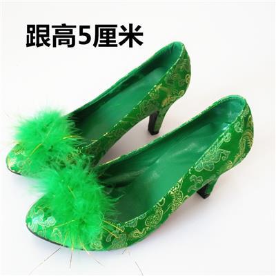 绿色毛球婚鞋女鞋上轿鞋粗跟绿鞋红鞋结婚鞋新娘鞋孕妇伴娘鞋蓝色