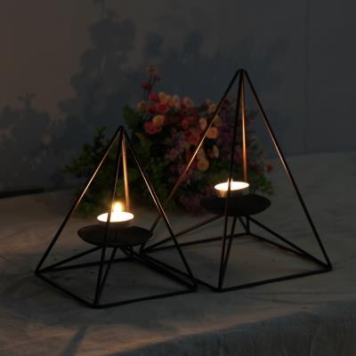 烛台欧式黑色铁艺浪漫摆件美式北欧家居装饰品现代简约创意烛台灯