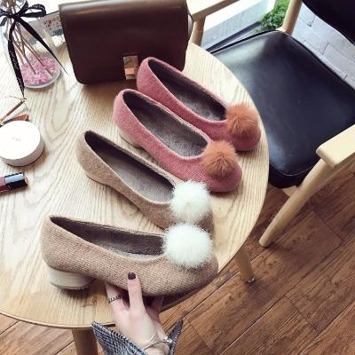 毛毛鞋女韩版新款圆头百搭加绒粗跟套脚毛球中跟单鞋潮新款