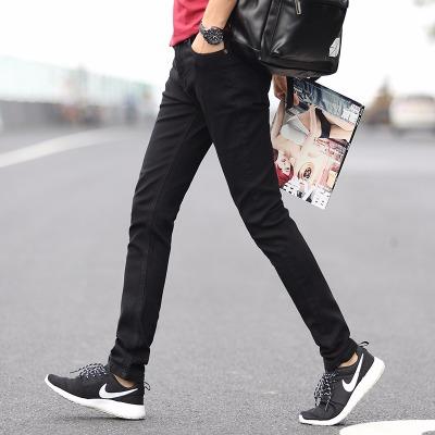 jeans秋冬款男士牛仔裤长裤韩版修身中腰宽松小直筒黑色牛仔裤潮