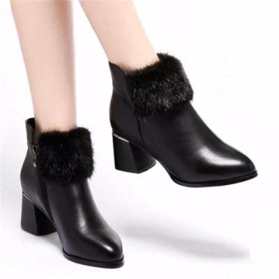 【高品质广东鞋】新款粗跟短靴欧美中高跟时尚兔毛女靴雪地靴女鞋