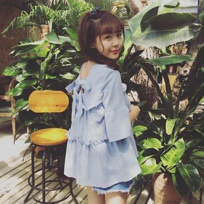 2018夏季新款女装韩版学生衬衣蝴蝶结娃娃衫荷叶边短袖衬衫女上衣