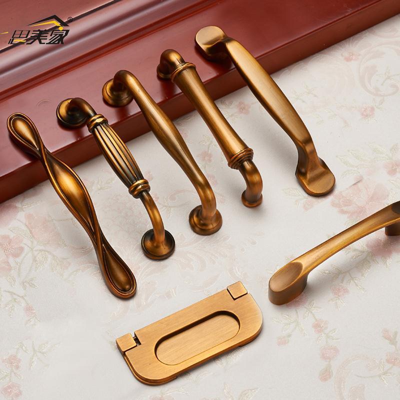 中式复古衣柜门拉手欧式仿古橱柜门把手黄古铜色简约抽屉小拉手