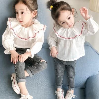 春款童装韩版圆领刺绣娃娃衫儿童棉麻上衣童装长袖衬衫小童娃娃衫