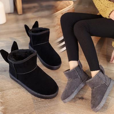 中年女靴子女皮靴子套装女学生冬棉鞋生女生棉鞋白色女高女款毛毛加绒女大童靴棉女士女冬季短靴韩版女季女平底大码女雪地袜子平底