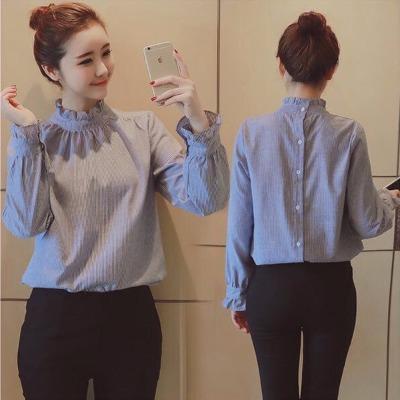 2018春秋新款女装韩版木耳边立领长袖清新条纹衬衫