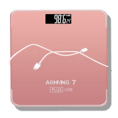 加大?#29992;?USB充电电子秤 体重秤家用精准人体秤健康秤30*30cm