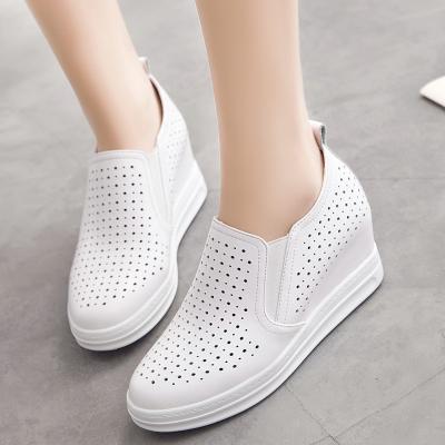 真皮内增高女鞋休闲鞋镂空透气夏季韩版女单鞋乐福鞋小白鞋洞洞鞋