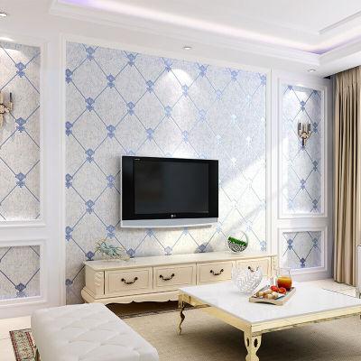 欧式客厅电视背景墙壁纸现代简约卧室无纺布墙纸3d影视墙软包菱格