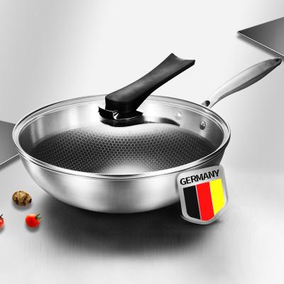 【送四件】德国304不锈钢炒锅不粘锅无涂层无油烟煤气电磁炉煤气