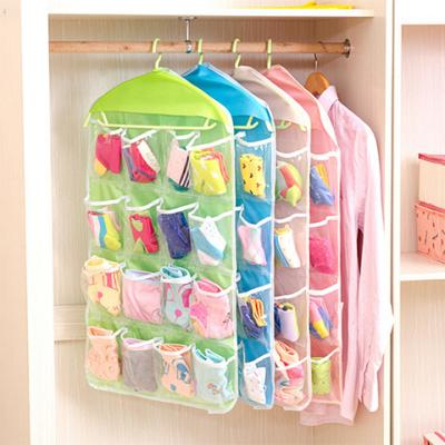 透明16格悬挂式收纳袋 衣柜墙壁挂兜衣橱储物袋门后布艺收纳挂袋