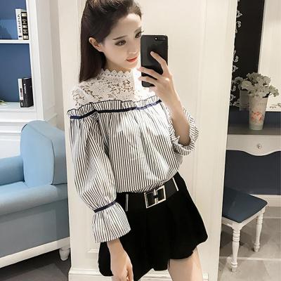 2018秋装新款韩范衬衫女宽松学生韩版显瘦细条纹衬衣娃娃衫上衣