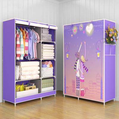 简易衣柜特价防尘加厚无纺布衣柜钢管加固钢架衣橱宿舍折叠收纳柜