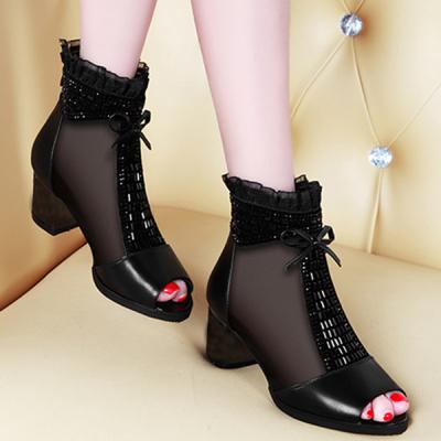 【头层】夏季网纱女高跟女鞋短网靴粗跟凉靴
