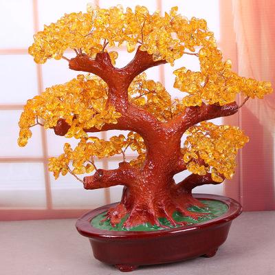 办公室客厅创意摆件水晶招财树开业乔迁工艺品家居装饰(黄水晶)