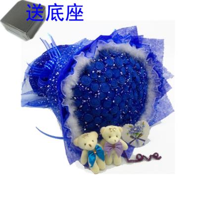 手工玫瑰花材料包DIY蓝色妖姬材料包折纸花束泡沫海棉纸包装纸