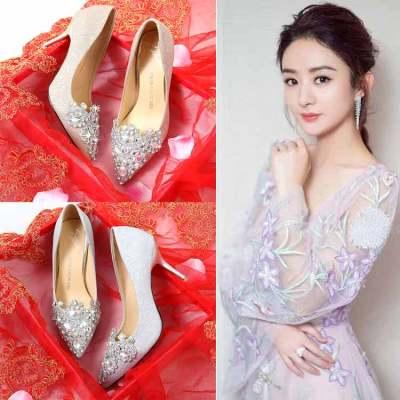 公主婚鞋女2017新款水钻银色高跟鞋细跟新娘鞋宴会婚礼婚纱伴娘鞋