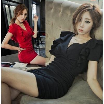 性感夜店女装2017秋夏季韩版新款V领荷叶袖大码修身显瘦包臀连衣裙S-3XL