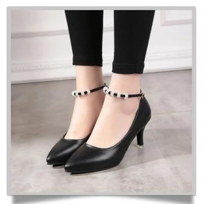 方口女鞋新款鞋女女士单皮士中跟粗跟单鞋伴娘装古装鞋子女外增高