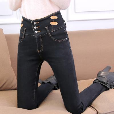 加绒牛仔裤女秋冬季高腰长裤2017深色修身显瘦大码胖mm加厚小脚裤26-34码