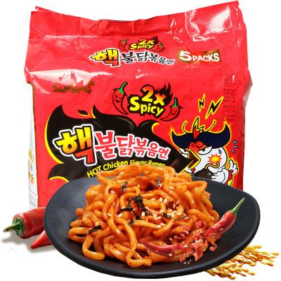 韩国进口方便面三养倍辣火鸡面140g×5袋辣鸡肉味2倍辣5连包