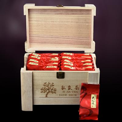 木质礼盒大红袍武夷山岩茶浓香型肉桂茶叶木质礼盒送礼大红袍400g