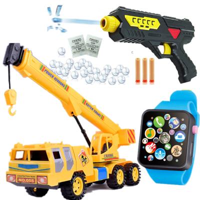 工程车大号吊车惯性车大吊机男孩玩具儿童玩具手表故事早教玩具枪