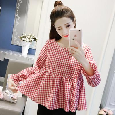 格子T恤女2017秋装新款韩版长袖宽松棉麻上衣女学生甜美娃娃衫潮
