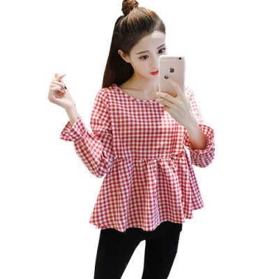 长袖衬衫女秋装韩版新款复古学院风棉麻高腰大码女装格子娃娃衫潮