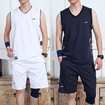 篮球服套装男夏季棉质运动短裤套装V领背心男士球衣跑步休闲套装