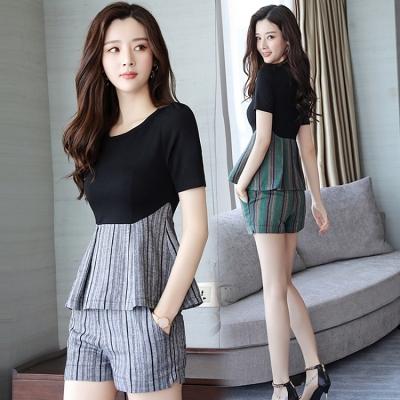 2018夏季新款女装韩版夏天棉麻七分裤两件套潮小香风职业时尚套装