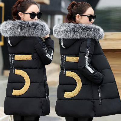 棉衣女中长款学生韩版大码冬季外套加厚棉袄棉服修身显瘦面包服新