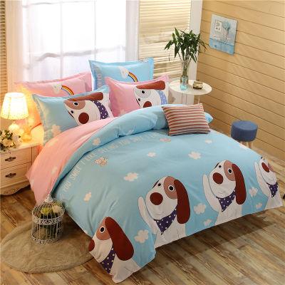 床单被套三件套床上四件套kt猫四件套水洗棉套韩版套磨毛套女学生