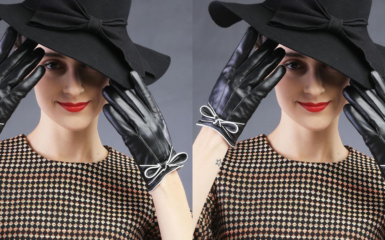 曼迪斯皮手套女冬季短时尚修手开车头层羊皮蝴蝶结女士真皮手套