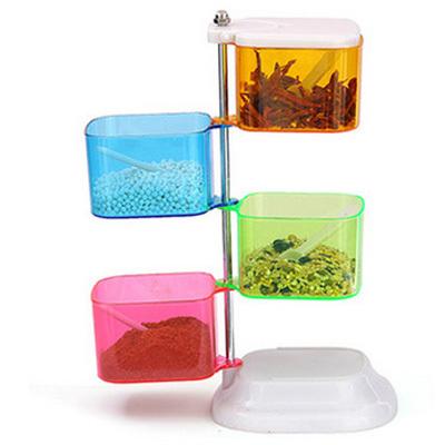 厨房彩色四层旋转式组合调味盒四件套 4格调味盒调味瓶罐