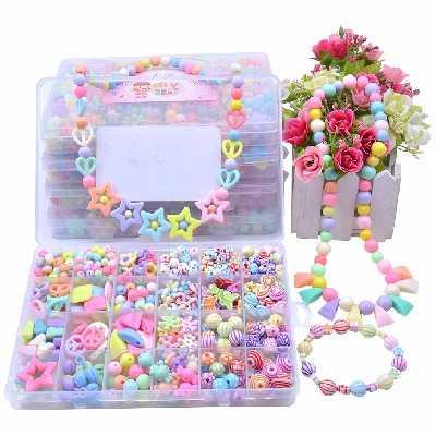 儿童手工制作串珠玩具女孩穿珠子手链项链diy材料包礼物宝宝益智