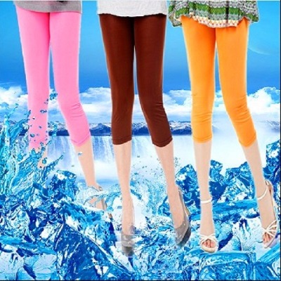 2018夏季爆款糖果色冰丝七分裤女清凉透气多色打底裤女装弹力时尚