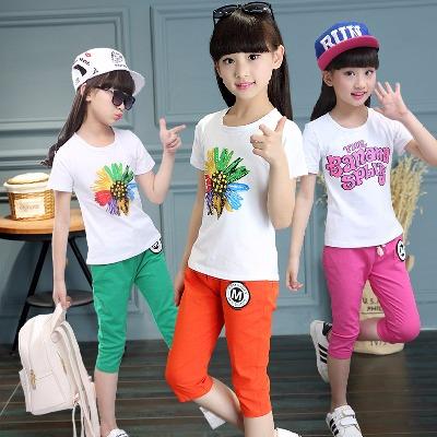 新款女童套装夏装短袖T恤中大童洋气时尚儿童棉麻中裤运动两件套
