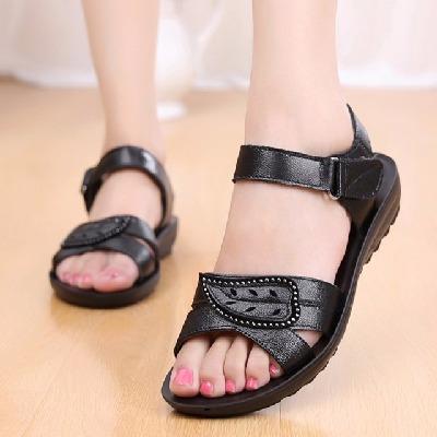 美美购【头层牛皮】妈妈鞋凉鞋真皮软底中老年女鞋平底防滑奶奶鞋