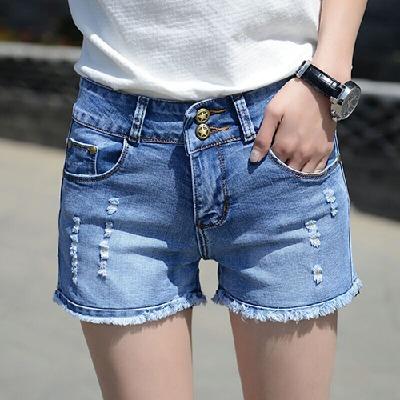 破洞牛仔短裤女夏高腰裤子女学生韩版显瘦修身弹力百搭女士新款