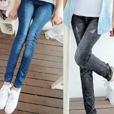 【2条装价格更实惠】春夏薄款仿牛仔印花弹力打底裤修身女铅笔裤