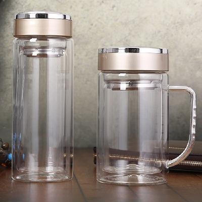 双层玻璃杯男女士办公水杯学生耐热带把泡茶杯子家用便携车载水杯