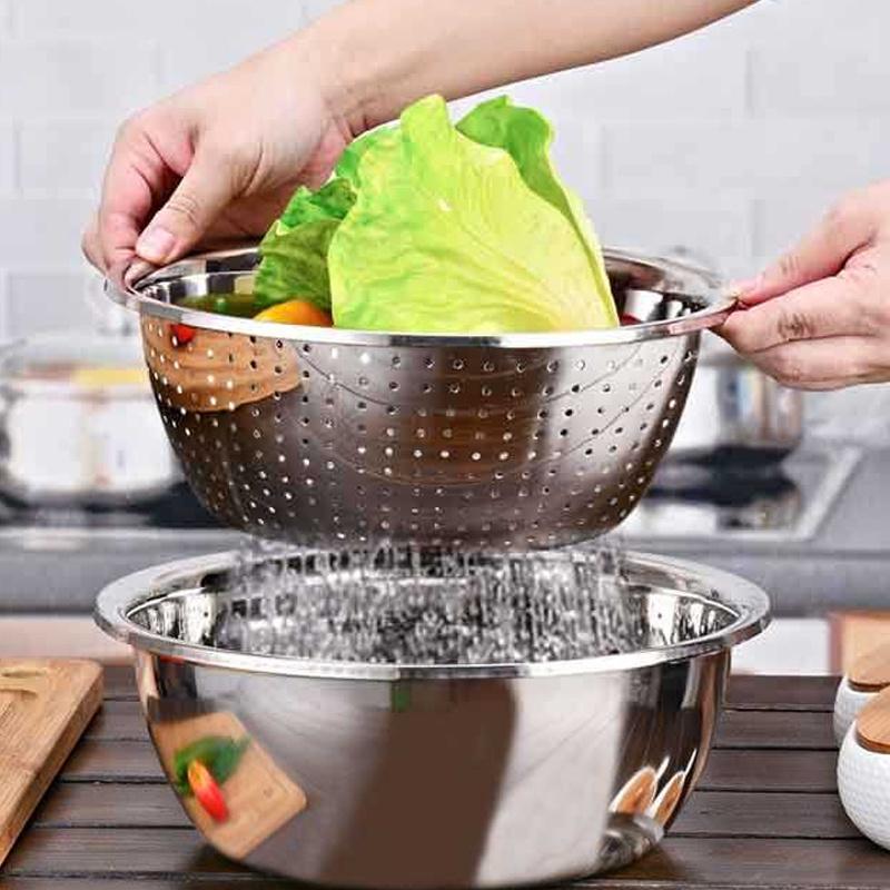 【5件套】不锈钢盆加厚调料缸菜盆漏盆洗菜盆淘米盆米筛盆和面