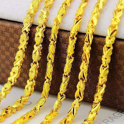 多款小金鱼越南沙金项链锁骨链不掉色镀金项链女士黄金色项链