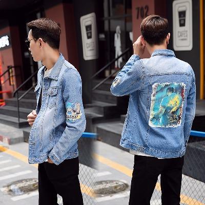 男装牛仔衣蓝色印花潮流日系LOL韩版时尚学生龙虾战队牛仔衣服