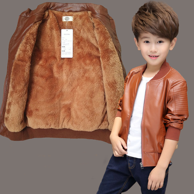 【冬款加绒春秋加里】男童皮衣外套2-15岁男孩宝宝皮夹克童装上衣