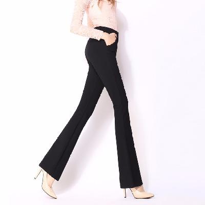 2020春夏新款微喇裤女长裤大码黑色直筒弹力喇叭裤休闲职业西裤