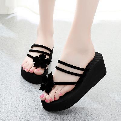 夏季新款凉拖鞋女坡跟厚底人字拖鞋高跟夹脚防滑拖鞋女士人字拖夏